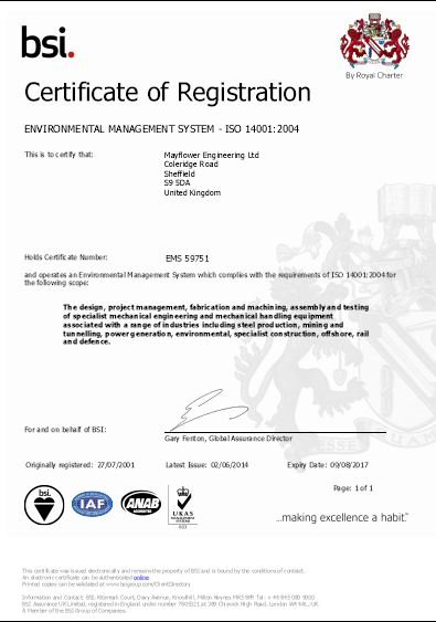 ISO 14001 mayflower engineering sheffield