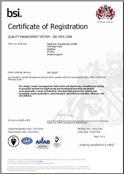 ISO 9001 2008 Mayflower Engineering Sheffield
